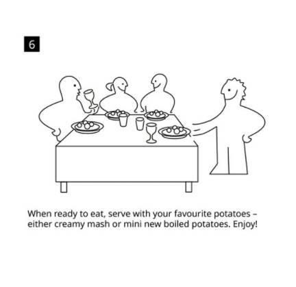 6)上碟時,可伴以自己喜愛的伴碟如薯蓉或薯仔,大功告成。(圖片來源:IKEA UK Twitter)