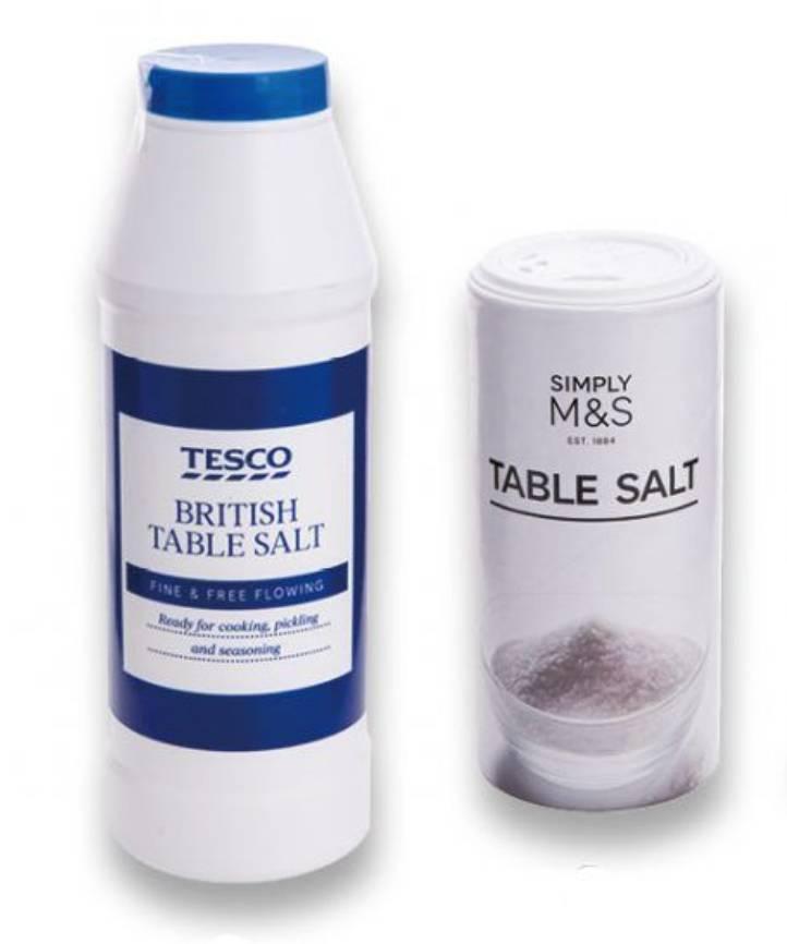 5星餐桌鹽/烹調用鹽 (左)Tesco - British Table Salt (右)Simply M&S - Table Salt