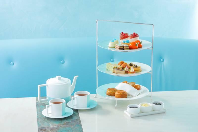 Tiffany T1 下午茶價錢 8/兩位,額外每位收費8 幾款鹹甜點以湖水藍色作點綴,很有品牌特色。