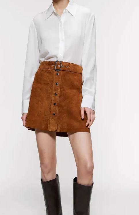 繫腰帶真皮短裙 (原價9)