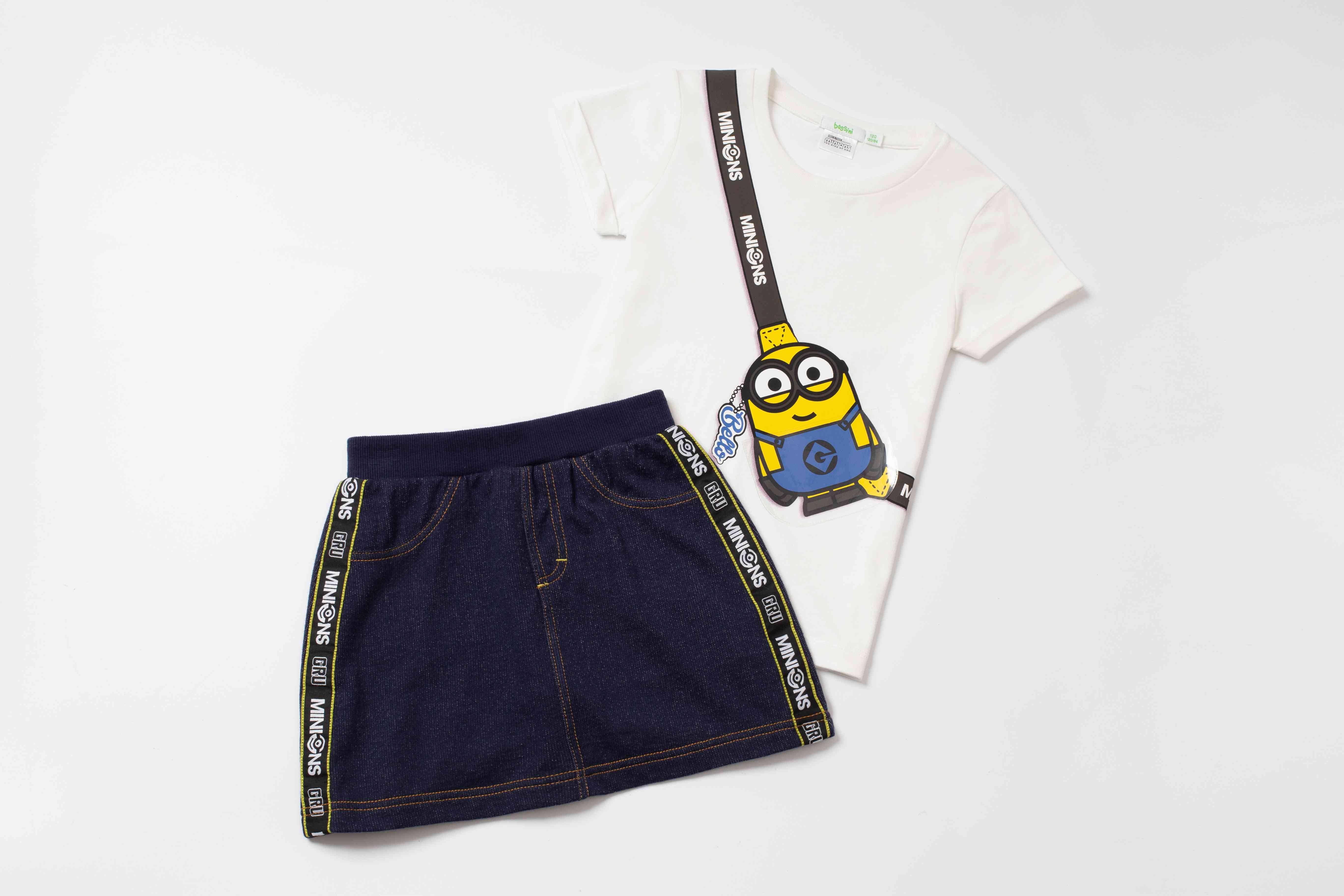 女童Minions仿斜肩袋印花Tee (白色) 9+女童Minions織帶仿牛仔布裙褲 9