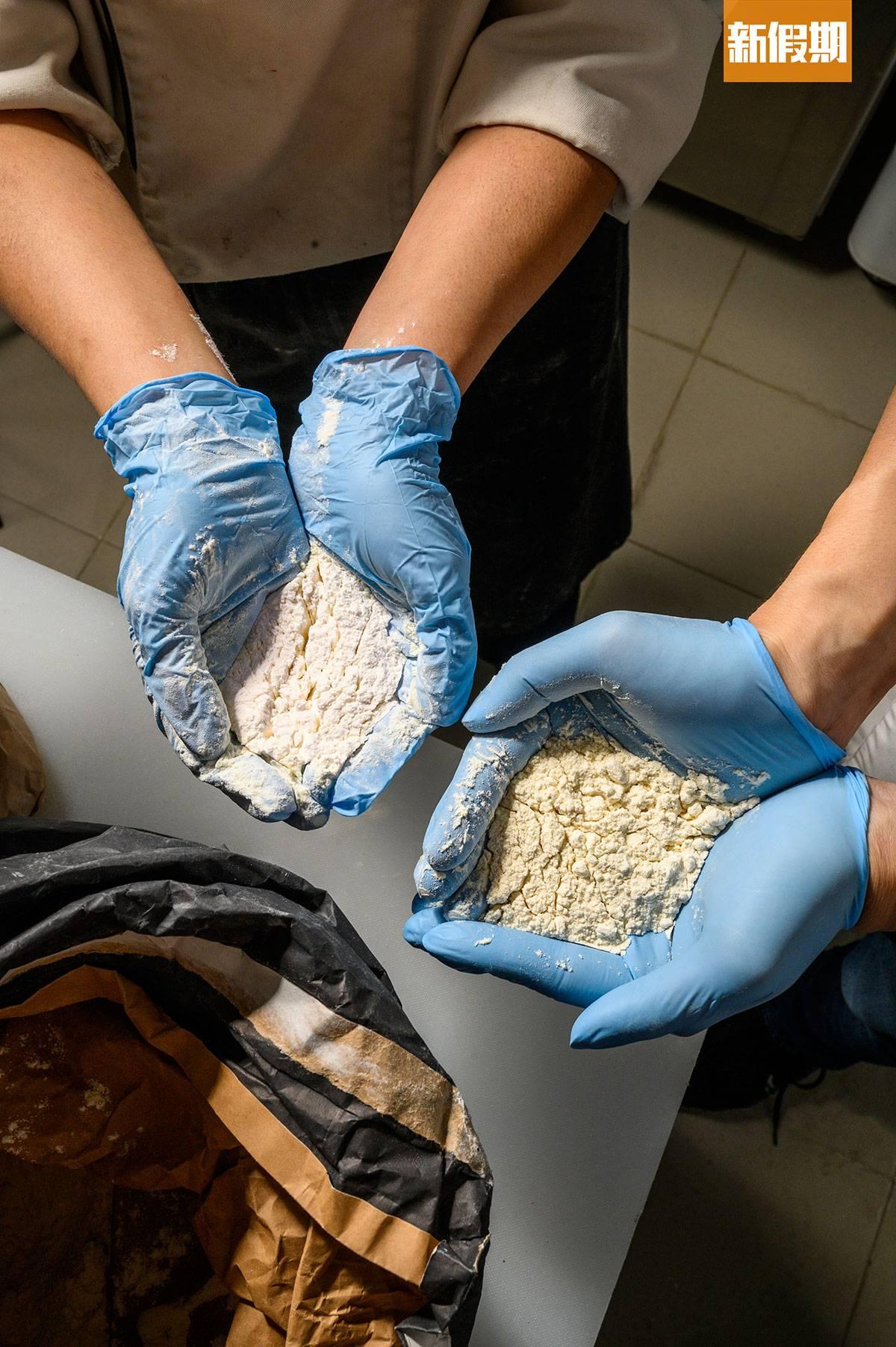 牛角包用上麥香濃重的法國有機麵粉混合口感細膩的日本麵粉,互相配合,令口感更細膩。