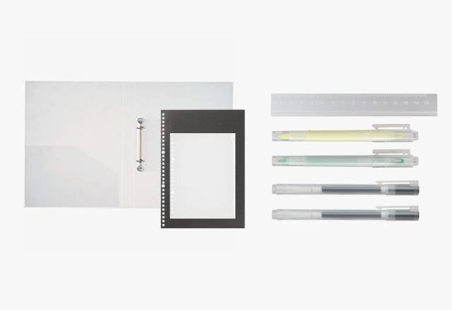 活頁文件夾套裝 (原價1) 套裝包括PP兩圈文件夾A4、活頁紙筆記簿A4、 EVA文件夾用拉鏈袋、鋁質間尺、 視窗螢光筆(黃、綠),以及2支PP啫喱筆(黑)。