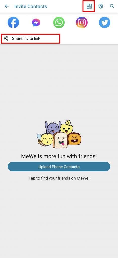 可以分享自己頁面的網址或二維碼給朋友申請好友。