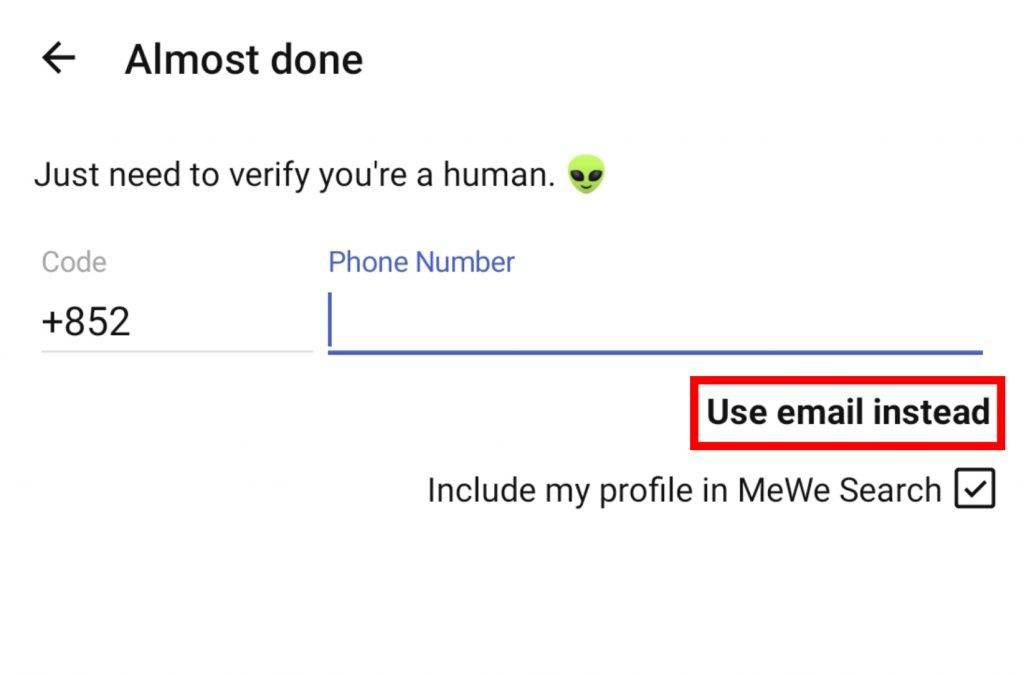 5. 輸入電話號碼 或 轉用電郵。之後輸入手機驗證碼 或 透過電郵驗證即可完成。