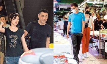 直擊劉青雲、陳展鵬陪妻買餸大不同  一個體貼老婆一個雙手插袋