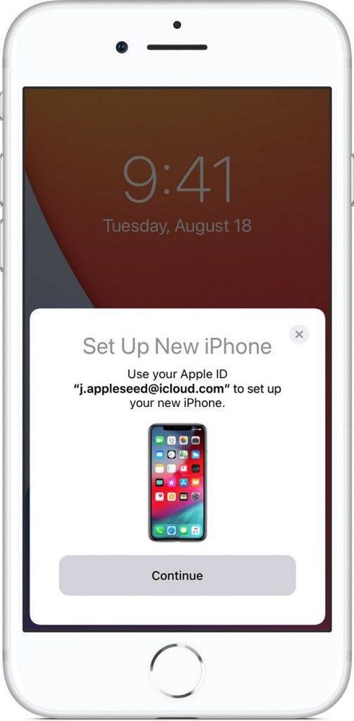 「快速開始」畫面會出現於現有(舊)iOS裝置上,並提供使用你的Apple ID設定新裝置的選項。確定這是你想使用的Apple ID後,按「繼續」。(圖片來源:apple.com)