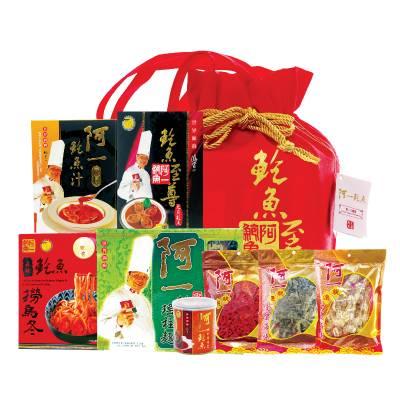 阿一八寶袋 8 (原價 4)包括紅燒元貝鮑魚禮盒、紅燒蠔皇鮑魚禮盒、御品鮑魚瑤柱麵及精選花菇等8款精選食品