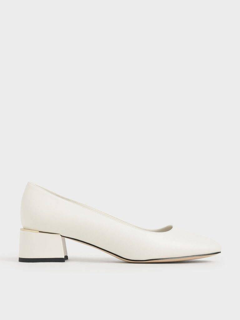 金屬拼接粗跟鞋(2色可選)原價:9 特價:9
