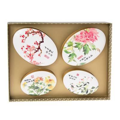 福茗堂花蝶(龍井、鐵觀音、普洱、茉莉)0 以蝴蝶圖案設計的禮盒,內含四款茶葉包,配以四季合時花卉作主題的品味包裝。