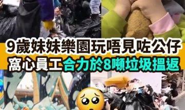 【#網絡熱話】 樂園員工垃圾堆幫妹妹搵公仔