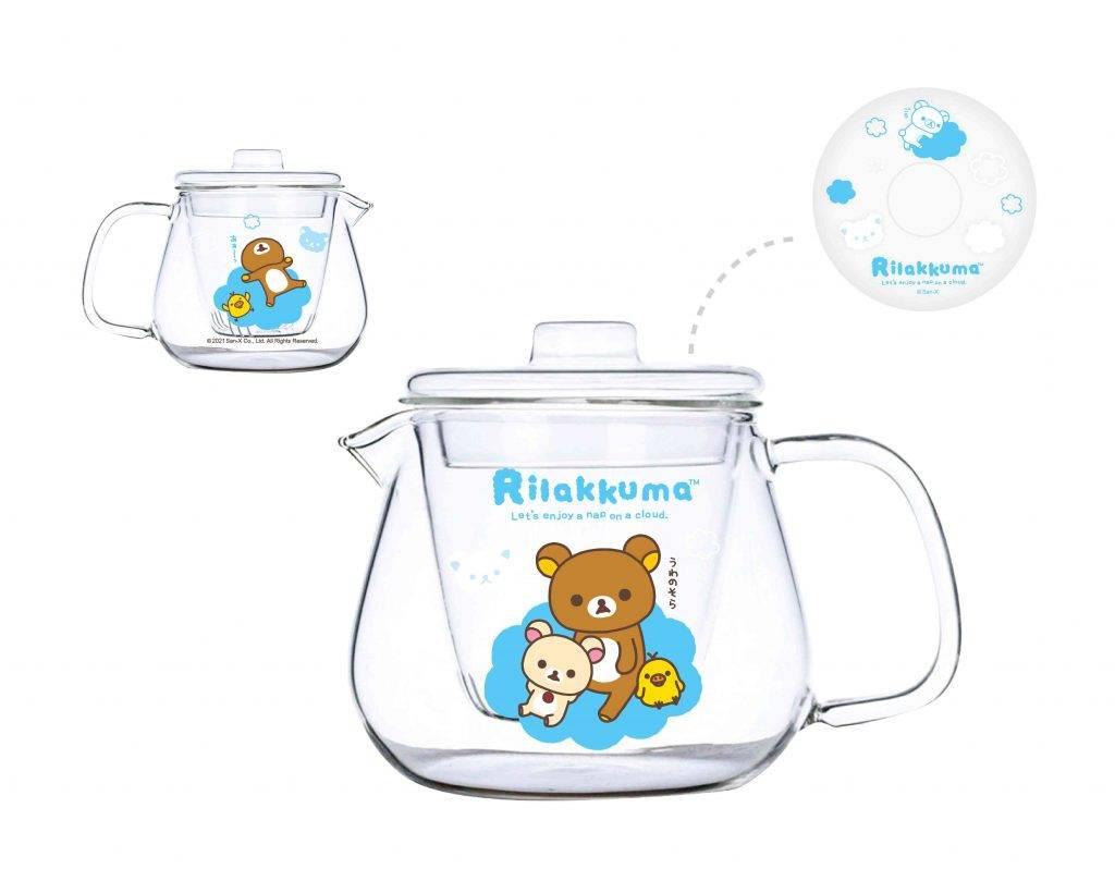 鬆弛熊印花玻璃茶壺粉藍色 9