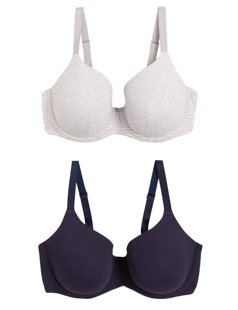 2件裝鋼圈全罩杯胸圍 新抵價9(原價9)。棉質部分親膚、透氣而柔軟,穿著很舒適!