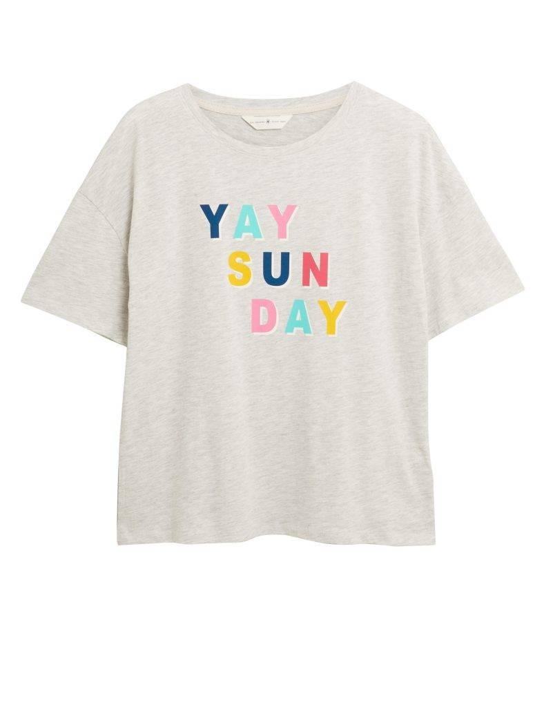 棉質 Yay Sun Day 標語睡衣 T 恤 新抵價(原價)