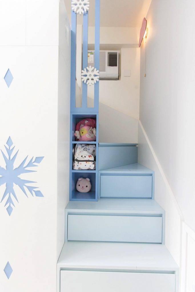 漸層粉藍色L型樓能儲物,更多空間!