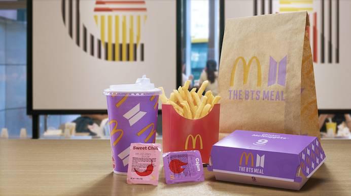 麥當勞與BTS聯承的「The BTS Meal」不論麥樂雞盒、汽水杯或紙袋,都是以紫色及BTS Logo設計,