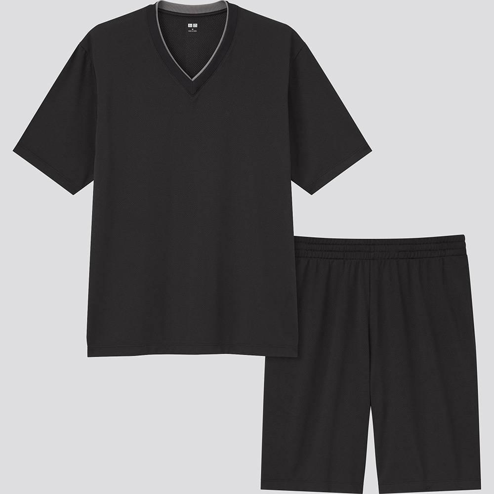 (圖片來源:官方圖片)男裝 AIRism 網紋休閒 V 領套裝 [短袖] (原價 9)