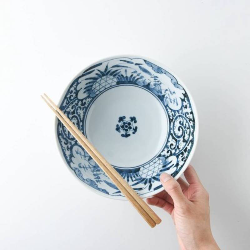 YAMANI 青風雲蔓藤花紋美濃燒碗