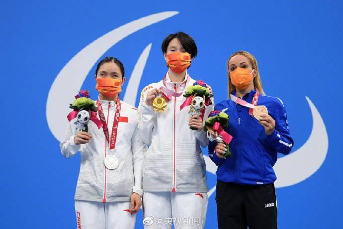 中國泳手馬佳本游出破世界紀錄時間的29.46秒奪金(圖片來源:微博@央視新聞)