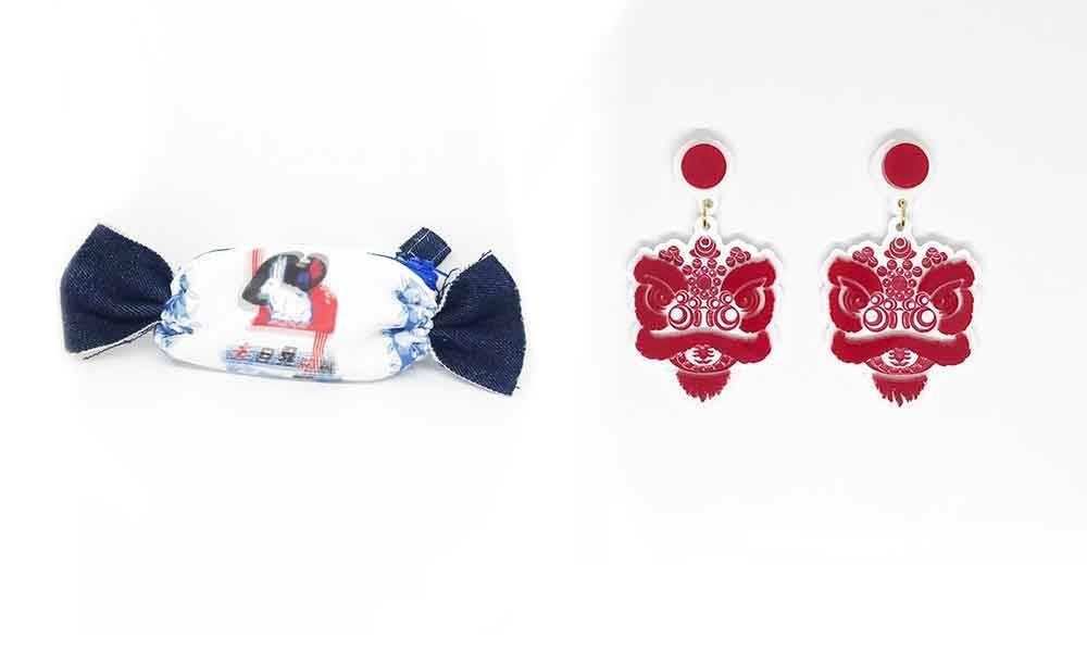 左:YOYO LAU x NOVELTY LANE 大白兔糖加細碼手袋 8 (原價 8) 展位:1C-D15 右:雄獅樓 紅色獅頭耳環 8 (原價 8) 展位:1C-D15