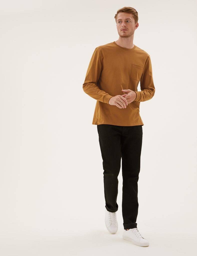 男裝純棉有袋長袖T恤原價9,新抵價9。