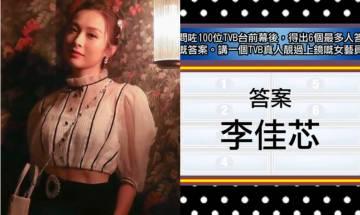 思家大戰|李佳芯當選TVB真人靚過上鏡女藝人第一名 網友驚訝第二名竟然係佢